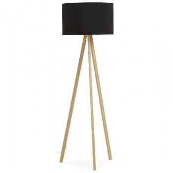 Lampa podłogowa TRIVET - Czarna-naturalna