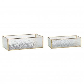 Szklane pudełko, mosiądz / szkło, przezroczyste, s / 2 Hübsch