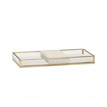 Pudełko szklane, mosiądz / szkło, kolor naturalny Hübsch