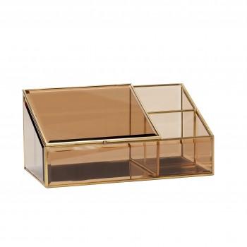 Pudełko szklane, mosiądz / szkło, brązowe Hübsch
