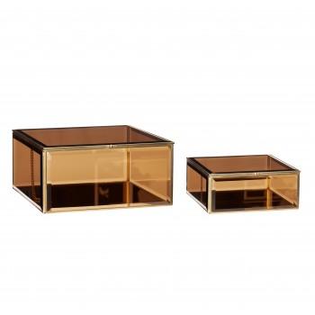Szklane pudełko, szkło / lustro / metal, brąz / mosiądz, s / 2 Hübsch