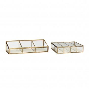 Szklane pudełko, szkło / płótno / metal, przezroczyste / beżowe / mosiężne, s / 3 Hübsch