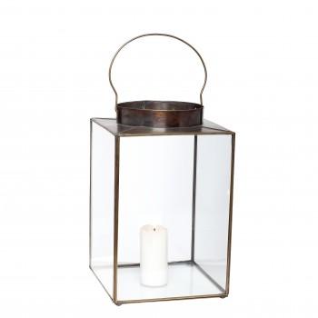 Latarnia z uchwytami kwadratowa szkło / metal Hübsch