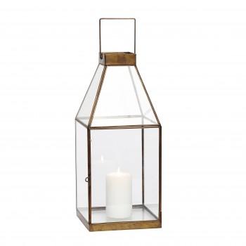 Latarnia, kwadratowa, mosiądz / szkło, mała Hübsch