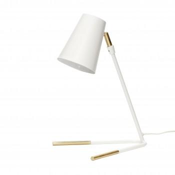 Lampa stołowa, metal, biały / mosiądz Hübsch