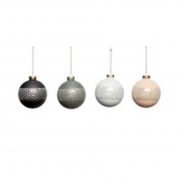 Bombka bożonarodzeniowa plastikowa czarna / niebieska / ciemnoniebieska / różowa duża S / 4 Hübsch
