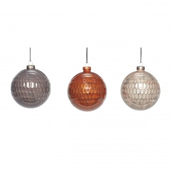 Bombka bożonarodzeniowa szklana pomarańczowa / szara / beżowa s / 3 Hübsch