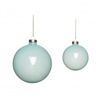 Bombka świąteczna szklana niebieska S / 2 Hübsch