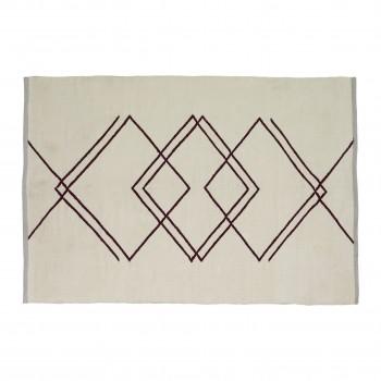 Dywan tkany z przędzy pochodzącej z recyklingu, biały / szary / bordowy Hübsch