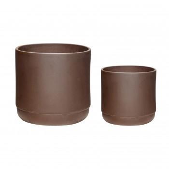 Doniczka, ceramika, bordeaux, s / 2 Hübsch