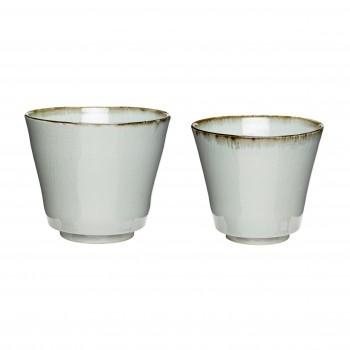 Doniczka, ceramika, beż / biały, s / 2 Hübsch