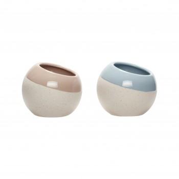 Doniczka, ceramika, biały / jasnoniebieski / różowy, s / 2 Hübsch
