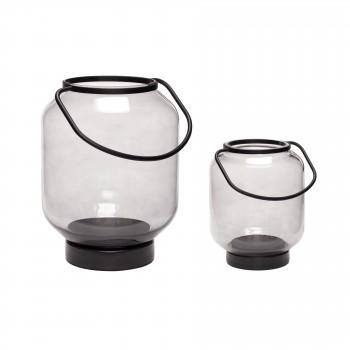 Latarnia, szkło / metal, czarny / przezroczysty, s / 2 Hübsch
