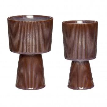 Doniczka, ceramika, fioletowy / brązowy, s / 2 Hübsch