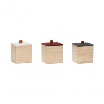 Pojemnik z pokrywą, drewno, naturalny / biały / zielony / czerwony, s / 3 Hübsch