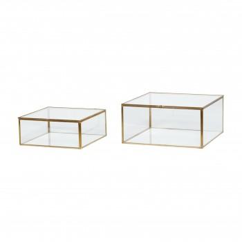 Szklane pudełko, mosiądz / szkło, s / 2 Hübsch