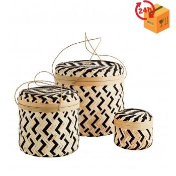 Okrągłe koszyki bambusowe - 3szt. - pojemniki z wieczkiem czarno-naturalne