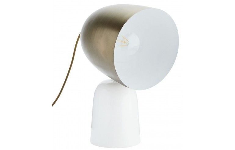 Lampa stołowa z mosiężnym kloszem i...