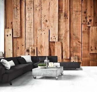 Fototapeta z drewnianymi deskami