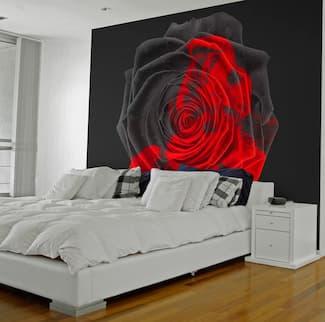 Fototapety w kwiaty w sypialni