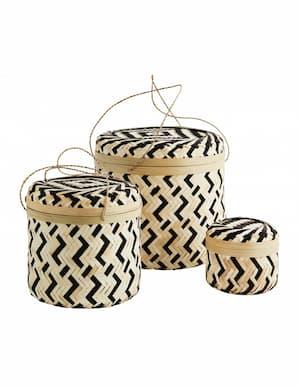 Zestaw koszyków bambusowych