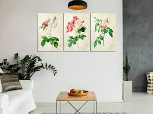 Obrazy na płótnie z kwiatami w salonie