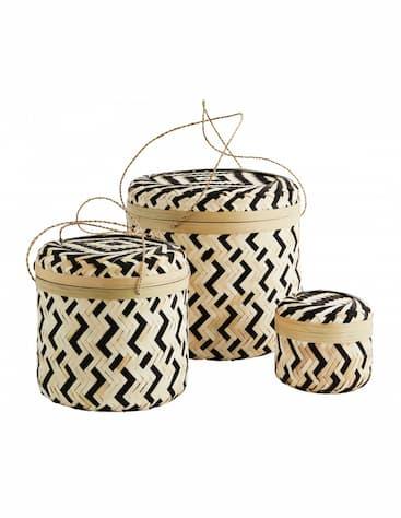 Pojemniki z bambusową pokrywką