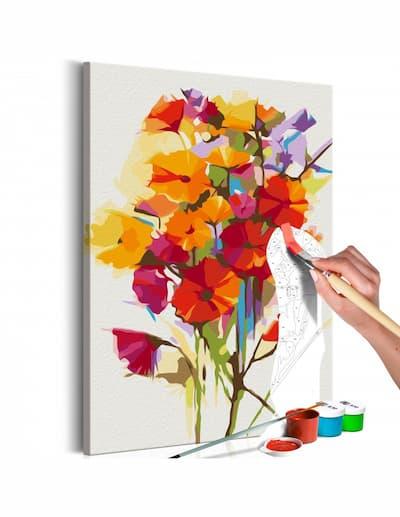 Bukiet dla mamy kolorowanka z kwiatami podczas malowania