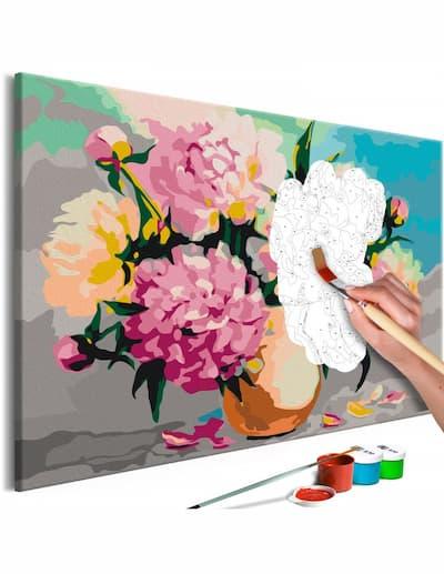 Obraz do malowania po numerach z kwiatami w różnych kolorach