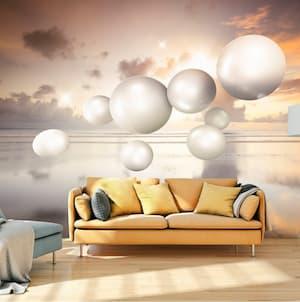 Tapeta powiększająca przestrzeń w salonie