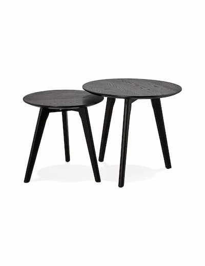 Zestaw dwóch stolików kawowych,okrągłych, w kolorze czarnym
