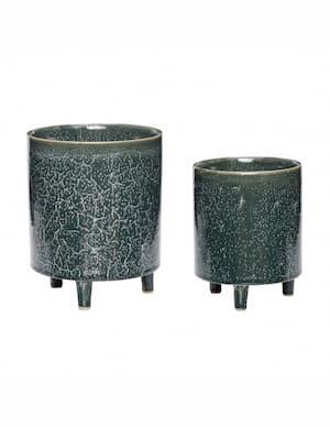 Zielone doniczki ceramiczne